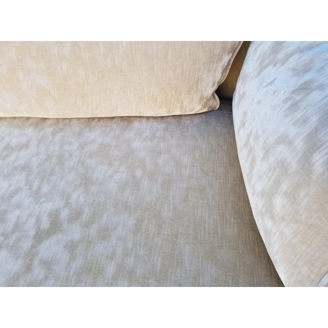 Fabric Custom Cream Textured Velvet Chaise With Fabric Covered Legs For Sale - Image 7 of 10