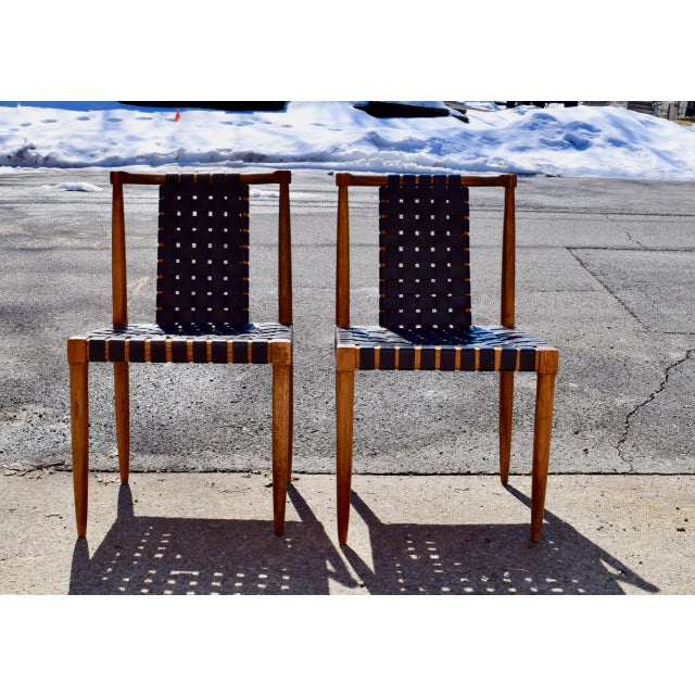 1950s Mid-Century Modern Tomlinson Leather Strap Dining Chairs - a Pair For Sale - Image 10 of 10