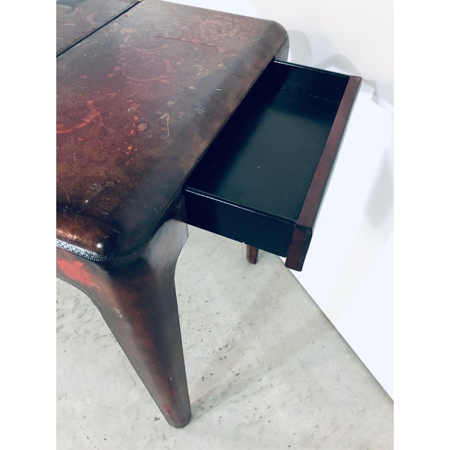 Mid-Century Modern Maitland Smith Distressed Leather Game Table For Sale - Image 9 of 13