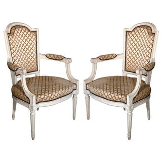 French Louis XIV Style Arm Chairs - Pair