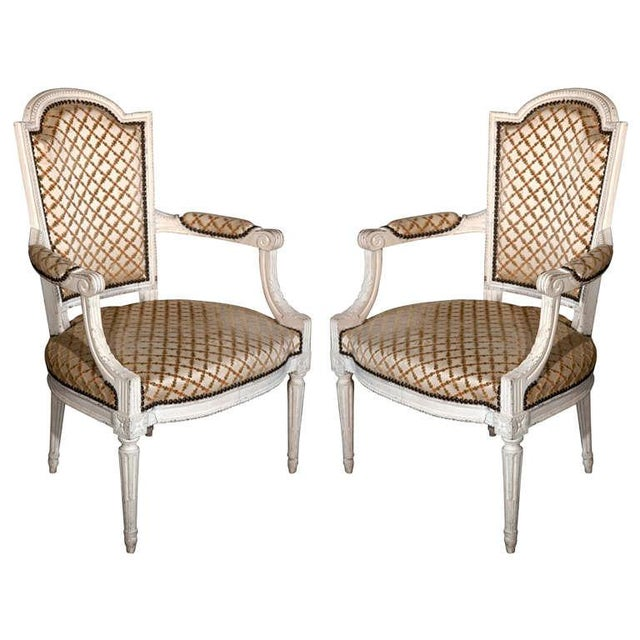 French Louis XIV Style Arm Chairs - Pair For Sale