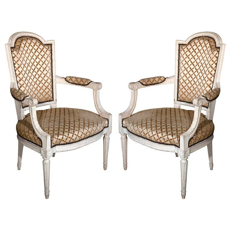 French Louis XIV Style Arm Chairs   Pair For Sale