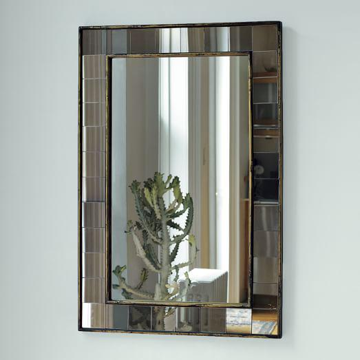 West Elm Antique Tiled Wall Mirror - Image 2 of 3