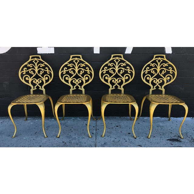French Provincial Set of 4 Gold Leafed Thinline Mfg Dining Chairs For Sale - Image 3 of 10
