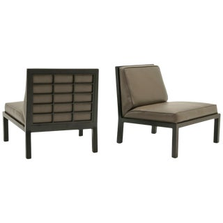 Pair of Slipper Chairs by Baker, Original Leather With Ebony Wood Frame Back For Sale
