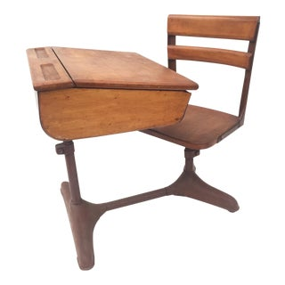 Vintage Mid-Century Modern Industrial School Desk