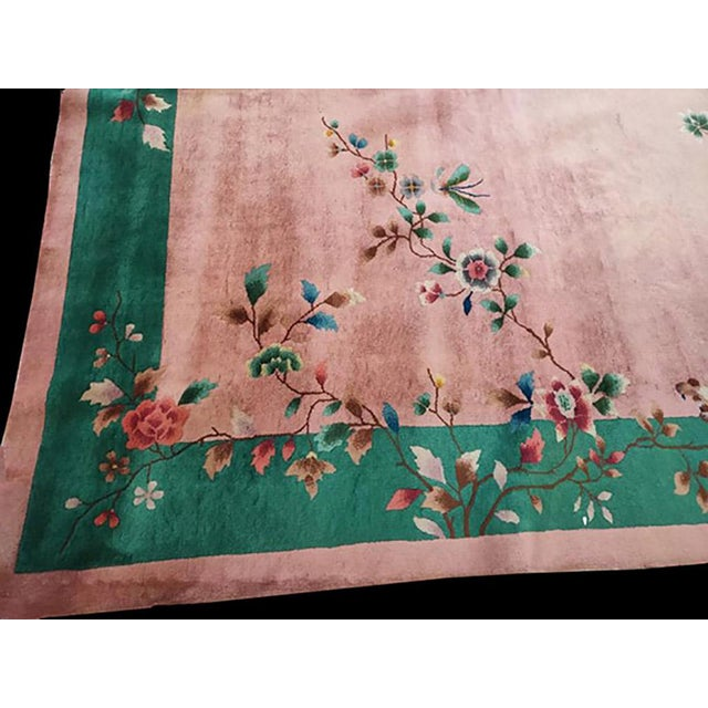 Antique Chinese Art Deco Rug with Pink color and 8' 10'' x 11' 8'' size.