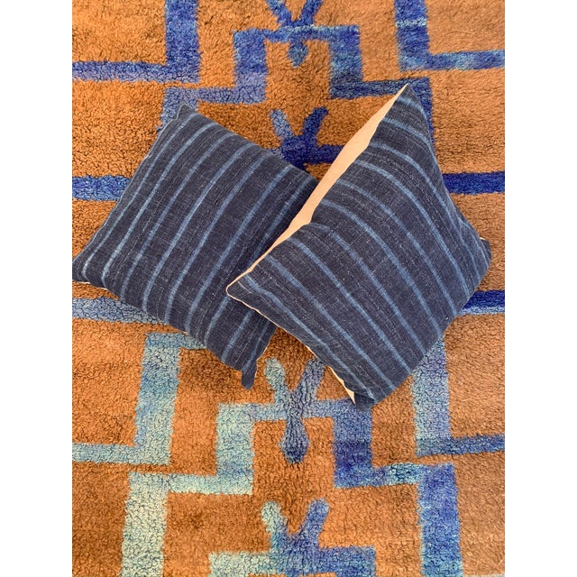 Blue Long Hair Turkish Brown & Blue Geometric Step Pattern Rug- 4′3″ × 6′9″ For Sale - Image 8 of 9