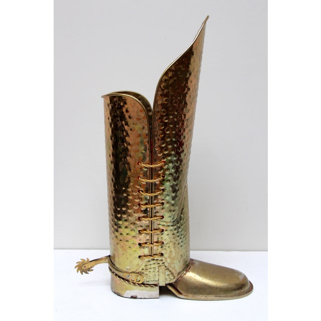 Brass Cowboy Boot Umbrella Stand - Image 4 of 8