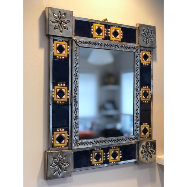 Vintage Mexican Blue and White Handmade Tile Mirror For Sale - Image 11 of 12
