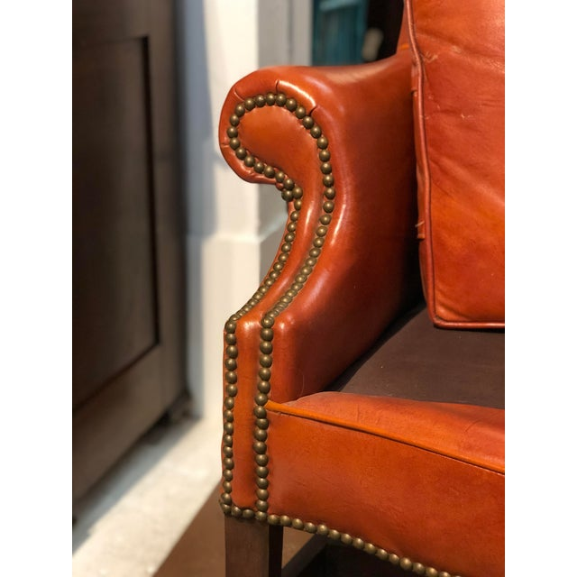 Vintage Georgian Style Orange Leather Arm Chair With Brass Tacks & Stretcher For Sale - Image 10 of 13