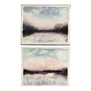 Abstract Landscape Paintings by Katie White - a Pair For Sale