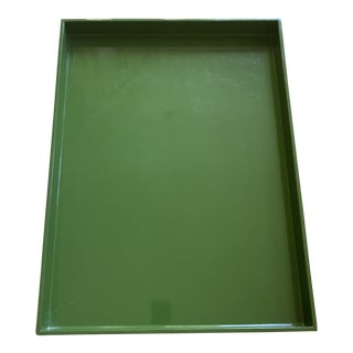 Large Wetter Indochine Moss Green Lacquered Tray For Sale