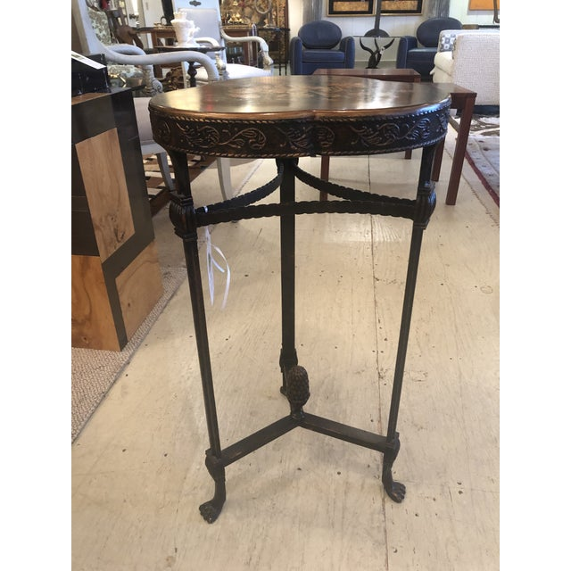 Theodore Alexander Shamrock Shaped Wood and Metal End Table With Floral Decoration For Sale - Image 4 of 8