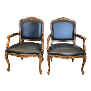 1990s Chateau d'Ax French Louis XV Style Arm Chairs - a Pair For Sale