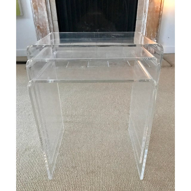 1970s Vintage Lucite Nesting Tables - Set of 3 For Sale - Image 5 of 9