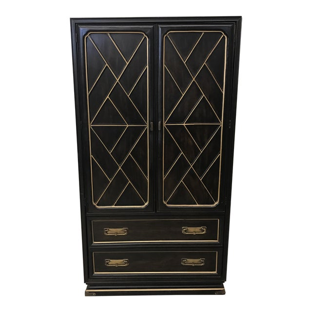 American of Martinsville Black & Gold Armoire - Image 1 of 8