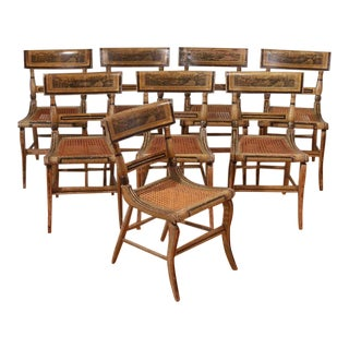 19th Century Antique Hitchcock Dining Chairs- Set of 8 For Sale