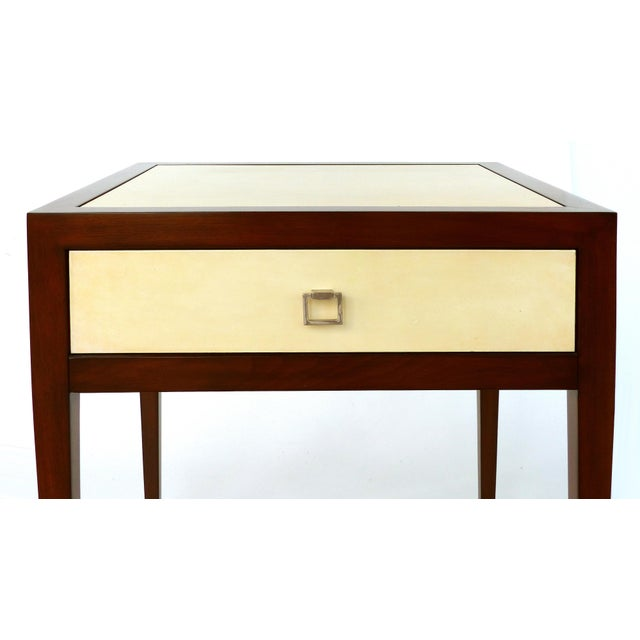 2000 - 2009 Williams & Sonoma Home Mahogany & Parchment Side Table For Sale - Image 5 of 11