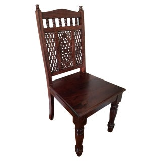Carved Wooden Dining Chairs - Set of 6 For Sale