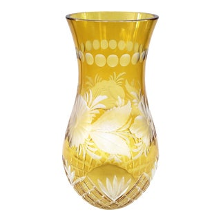 1960s Czecheslovkian Bohemian Czech Cut Crystal Vase For Sale