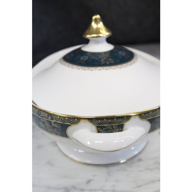 Mid 20th Century Royal Doulton Gold and Turquoise Accent Tureen For Sale - Image 10 of 11