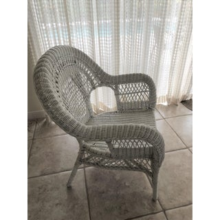 Vintage Mid Century Indoor Large White Wicker Armchair Preview