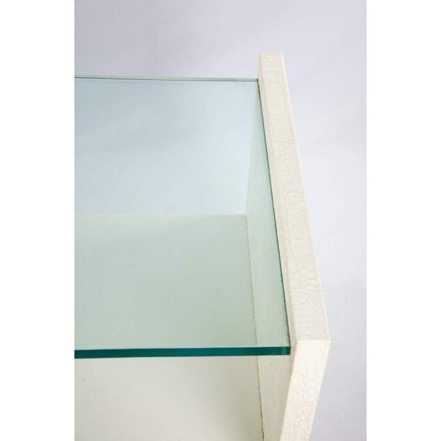 1970s Karl Springer Albino Python Glass Top Side Table For Sale - Image 5 of 13