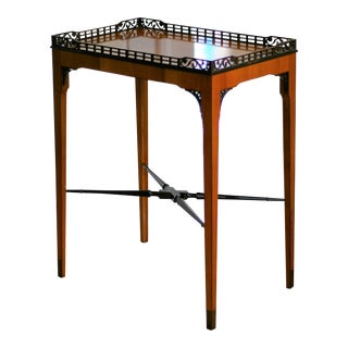 Contemporary French Cherry and Ebony Gallery Top Table For Sale