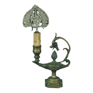 1920s French Brass Aladdin Table Lamp with Dragon Chasing Flaming Pearl For Sale