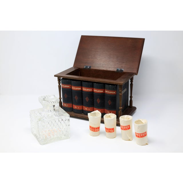 1960s Vintage Japanese Wood and Leather Library Liquor Box With Original Glassware For Sale - Image 5 of 12