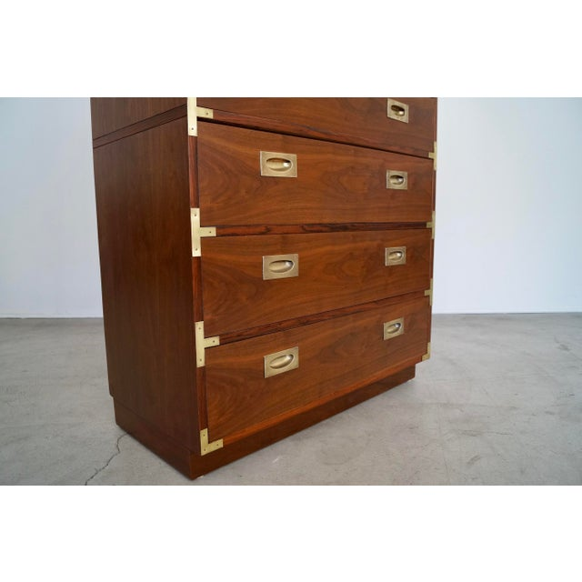 Metal Hollywood Regency Walnut Rosewood Campaign Dresser For Sale - Image 7 of 13