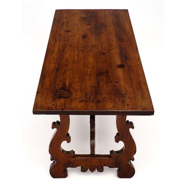 """Renaissance Antique Spanish Renaissance """"Lyra"""" Trestle Table For Sale - Image 3 of 10"""