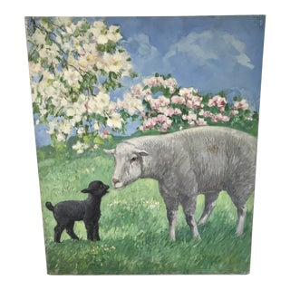Vintage Lamb and Baby Ewe Oil Painting by Diana Throne For Sale
