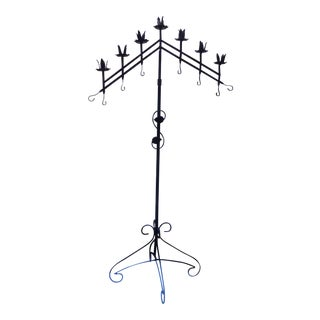 Up to 8 Ft High Mid-Century Modern -- Gothic Black Iron Floor Candle Holder For Sale