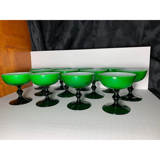 1960s Carlo Moretti Emerald Green and White Cased Glass Champagne Goblets - Set of 12 For Sale - Image 13 of 13