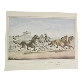 1950s Vintage Horses Stella and Alice Grey Lantern and Whalebone Currier & Ives Print For Sale