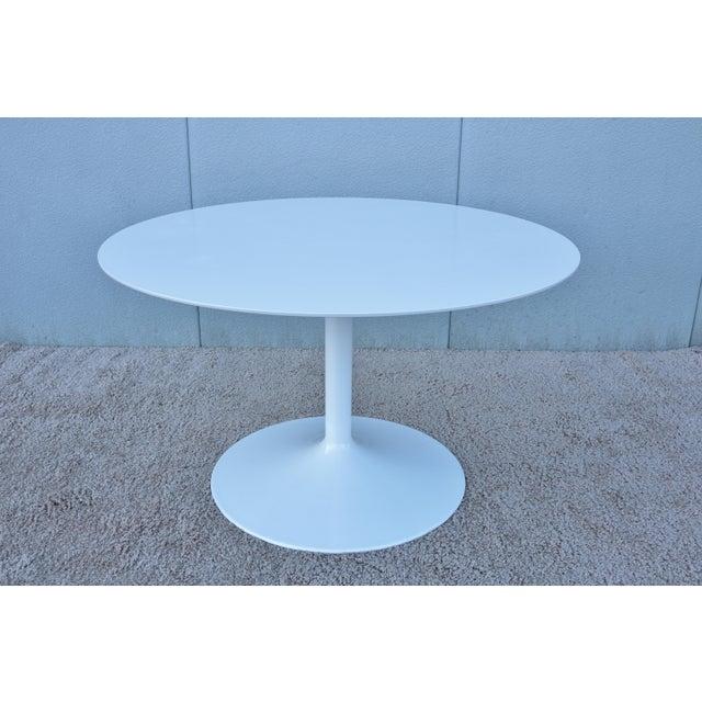 """1950s Mid-Century Modern Eero Saarinen Style 48"""" Round White Top Tulip Dining Table - Image 13 of 13"""