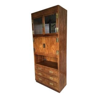 Henredon Folio Campaign Style Lighted Walnut Bar Cabinet For Sale