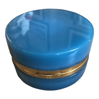 French Blue Opaline Glass Round Box For Sale