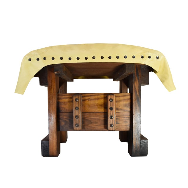 Heavy high quality hand made wooden base with leather covered footrest ottoman stool is a unique piece to add to any...