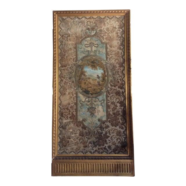 Gold Framed Stump Work Textile For Sale