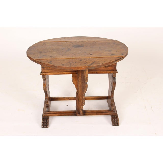 1930s Baroque Style Drop Leaf Side Table For Sale - Image 5 of 12