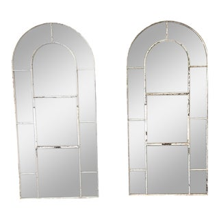 Pair of French Cast Iron Windows With Distressed Mirrors For Sale
