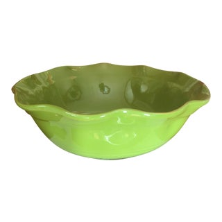 Lime Green Glaze Terra-Cotta Scalloped Edged Round Bowl For Sale