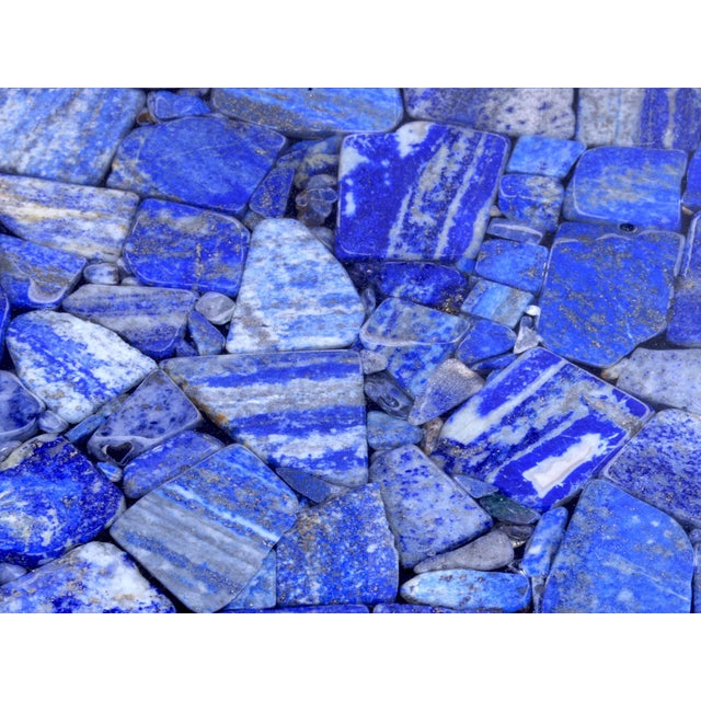 Coffee Table With Lapis Lazuli, by Etienne Allemeersch, Circa 1975 For Sale - Image 6 of 7