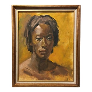 Vintage Oil on Masonite Portrait Painting by Dolores Pharr Smith (1930-2018) For Sale