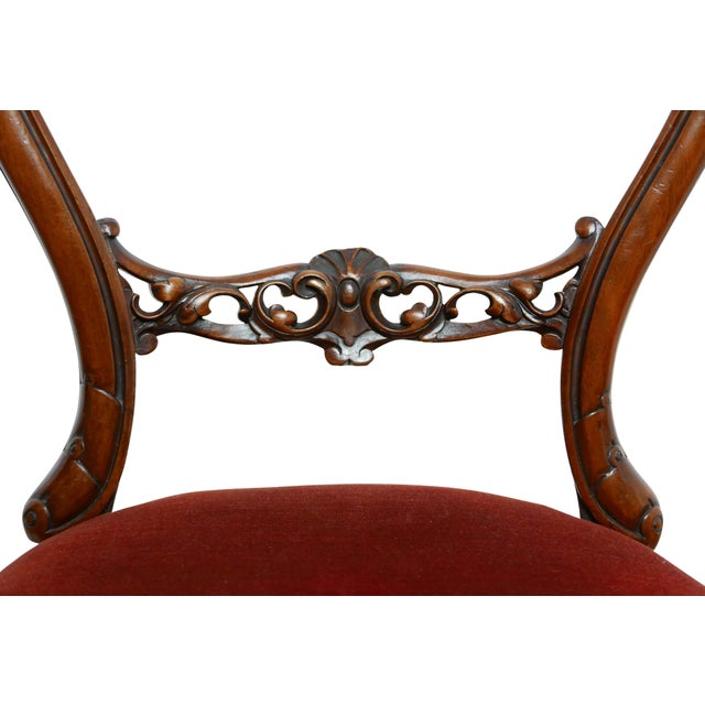 Pair of Walnut Balloon Back Side Chairs, English Victorian 19th Century For Sale - Image 9 of 12
