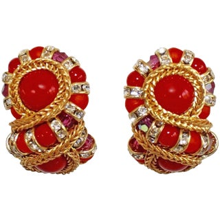 "Francoise Montague Red ""Huit"" Clip Earrings For Sale"