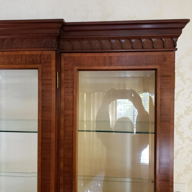 Brown Councill Craftsman Inlaid Banded Flame Mahogany China Cabinet For Sale - Image 8 of 12